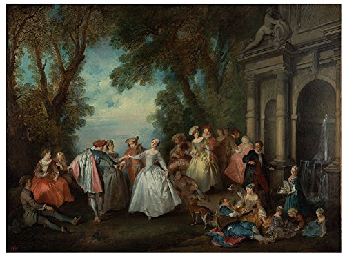 Nicolas Lancret - Dance Before a Fountain, Size 24x32 inch, Gallery Wrapped Canvas Art Print Wall décor
