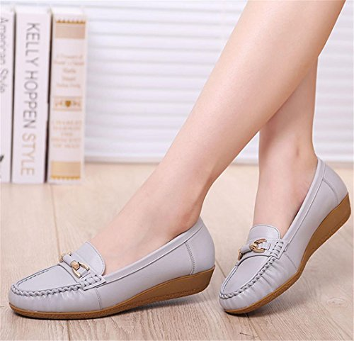 Negro Flats eur35uk3 Single Comfort 6 Spring Eur Loafer Shoes Work 39 Nvxie uk De Soft Genuino Bombas Leisure Nuevo Señoras 5 6 Fall Gray Bottom Cuero Antideslizante Party pqwn5ZC