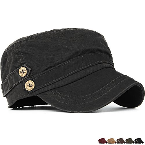 Rayna Fashion Unisex Adult Cadet Caps Military Hats Low Profile Elastic - Black Style Men For