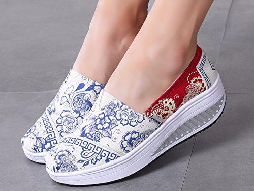Zapatillas de LFEU Mujer bleu beige de Running Lona R1xqaxgBw