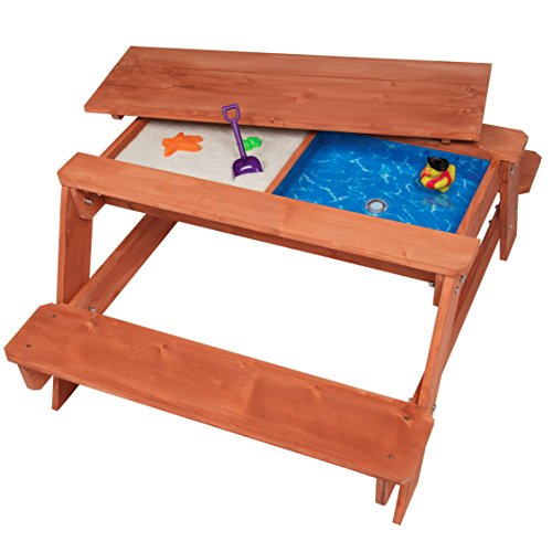 100 Sandbox - Kid's All in One Convertible Indoor/Outdoor Picnic, Sand and Water Table w/ Removable Top (43 x 35 x 19 in) - Made of 100% Wood for Safe and Fun Play