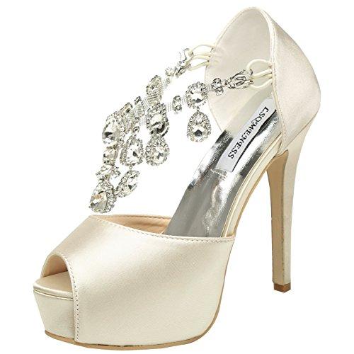 Jiame Womens Peep Toe Stiletto High Heel Platform Pumps T Strap Satin Rhinestones Wedding Bridal Shoes (9BM(US)(Asia 41), Apricot)