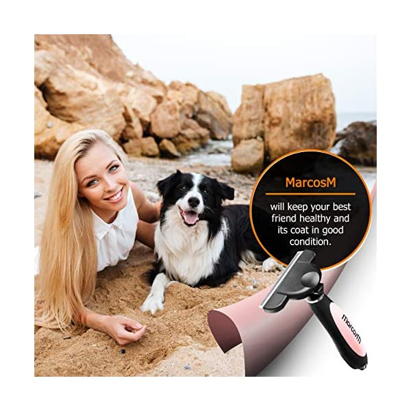 MarcosM Dog Brushes Shedding – Professional Deshedding Tool Dogs Cats Blade Fur Ejector Button Drawstring Storage Pouch… Click on image for further info. 2