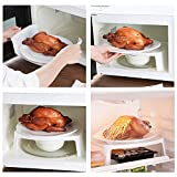 Microwave Rack Double Layer Dish Tray for Kitchen Fridge Desktop Plastic White by Zondam