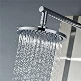 Vantory VD07 8 Inches Rainfall Polished Chrome Shower Head Fixed Mount with 126 Self Cleaning Silicone Nozzles Swivel Metal Ball Connector