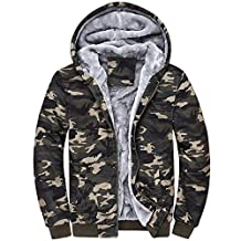 Partiss Men's Winter Fall Warm Camo Hooded Fleece Lined Sweatshirt