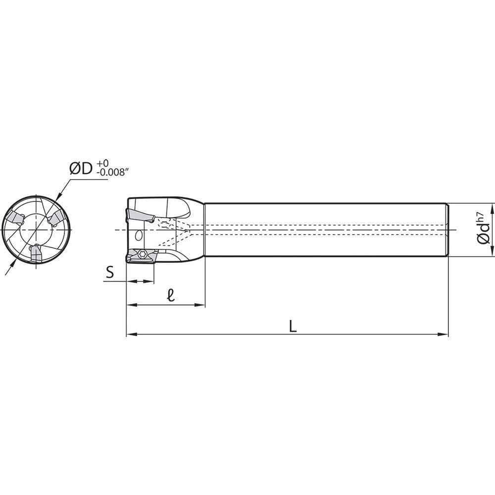Kyocera MEC 1500S1259511T 1.5000 Diameter End Mill