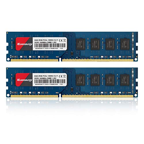 Kuesuny 16GB Kit (8GBX2) DDR3L-1600 Udimm, PC3L-12800/PC3L-12800U 8GB CL11 240 Pin 2RX8 Dual Rank Non ECC Unbuffered 1.35V/1.5V Desktop Computer Memory Ram Module Upgrade(Blue) 240 Pin Micron Chip
