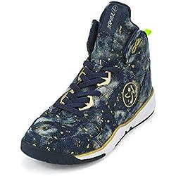 Zumba Fitness LLC Women's Zumba Energy Boom Sneaker, Paint Splattered Denim, 11 Regular US