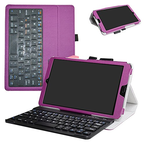 Huawei MediaPad M5 8.4 2018 Bluetooth Keyboard Case,Mama Mouth Slim Stand PU Leather Cover with Romovable Bluetooth Keyboard for Huawei MediaPad M5 8.4 2018 Android Tablet,Purple by MAMA MOUTH