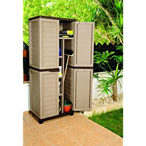 6ft-Mocha-Plastic-Garden-Storage-Utility-Shed-Cabinet-with-shelves
