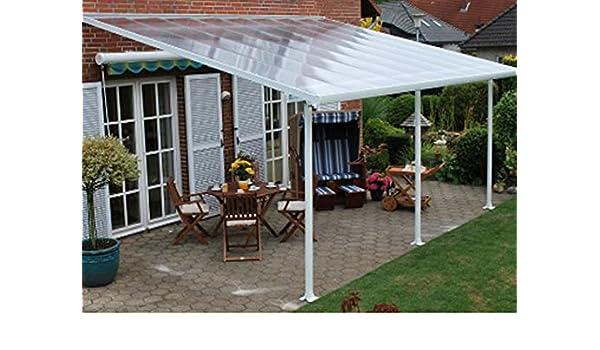 Toldo de terraza aluminio, color blanco, policarbonato, 4 x 4 m-Dim: 425 x-PEGANE-387 x 260 cm: Amazon.es: Hogar
