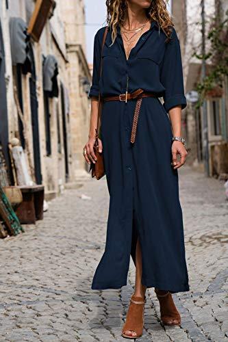 Bohemian with Z blue Dresses Floral 4 Sleeve 3 V Maxi Tank HPYLove Beach Neck Dress Women's Pockets Swing W1Ua66cp
