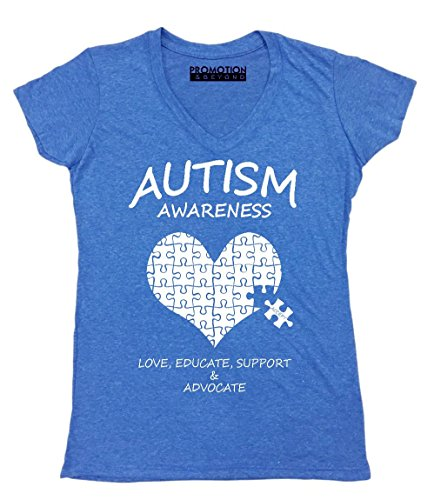 Promotion & Beyond Autism Awareness Support Heart Puzzle Women's V-Neck, 2XL, Heather Royal