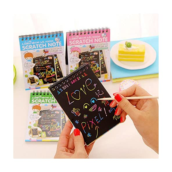 Art Bundle Kids Stationery Notebook Sketch Scratch Paper Note Drawing Educational Toy+Wooden Pencil- Pack of 1