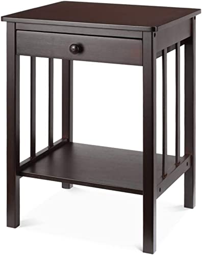 Trustiwood Bamboo Night Stand End Table with Drawer and Storage Shelf Multipurpose Home Furniture, Dark Brown