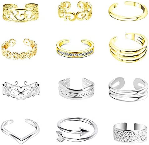 Sunssy 12PCS Adjustable Toe Rings for Women/Knot Simple/Band Silver Gold Open Toe Ring Hypoallergenic Summer Beach Foot Jewelry Set