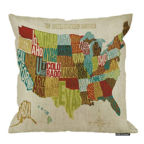 HGOD DESIGNS Across The Country United States Map Pillow Case Cover 18 inch X 18 inch Cotton Linen