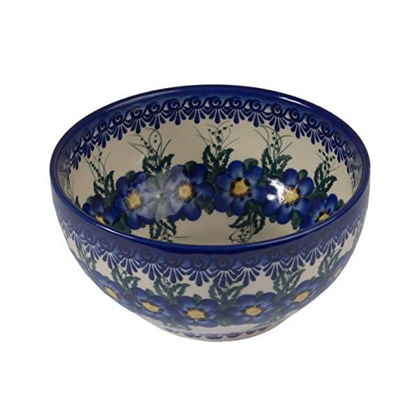Traditional Polish Pottery, Handcrafted Ceramic Salad Bowl (1500ml), d.19cm, Boleslawiec Style Pattern, M.704.Pansy