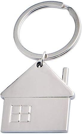 Pegcdu Geometr/ía Llavero en Forma de peque/ña casa Colgante Llavero del Coche de Metal del hogar Anillo dominante de Accesorios Decorativos