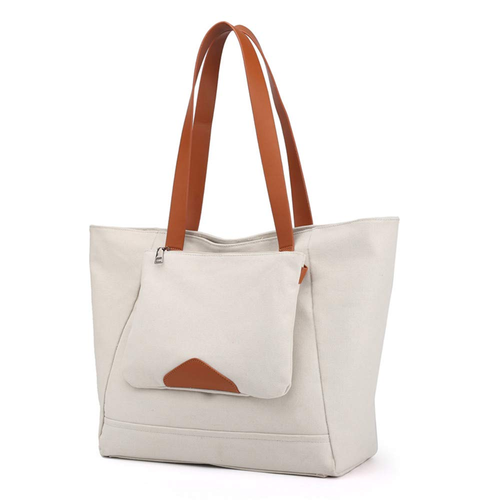SJMMBB Canvas Bag Lounge Handbag,Rice White,35X33X15Cm