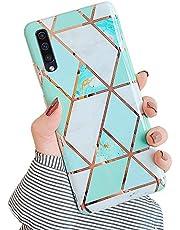 JAWSEU beschermhoes compatibel met Galaxy A50 Case marmer groen