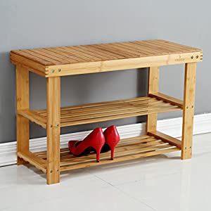"Natural Bamboo Entryway Bench (28"" X 18"" X 11""), Mosa Hallway Wood Shoe Bench Wooden Shoe Rack for Bedroom"