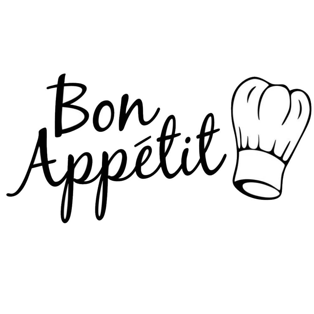 TNGCHI Removable Wall Sticker Bon Appetit Saying and Words Decorative Mural Decor Stickers PVC Waterproof Decals for Kitchen,3Sets