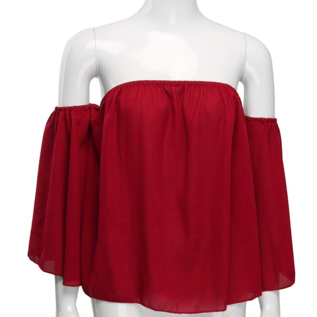 Amazon.com: DondPO 2018 Fashion Sexy Women Off Shoulder Tops Pullover Summer Chiffon Blouse White Casual Crochet Chiffon Shirt Sexy WomensT Shirt Tops Tee: ...