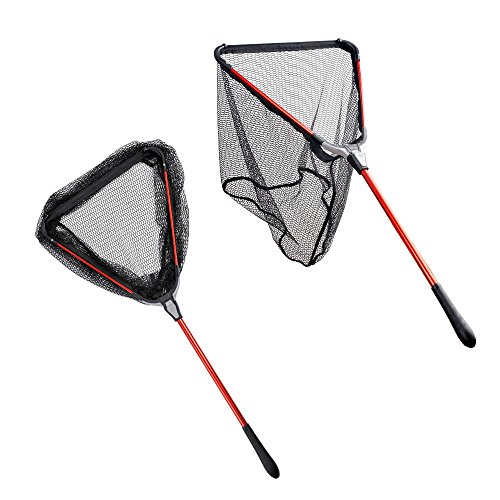 - Fiblink Folding Aluminum Fishing Landing Net Fish Net with Extending Telescoping Pole Handle (Extend Length: 23-37 inches)