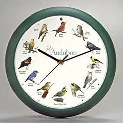Audubon Singing Bird Clock 8 Green, Home Kitchen Wall Decor, New