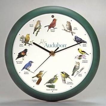 Audubon Singing Bird Clock 8 Green, Home Kitchen Wall Decor, New