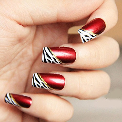 Leopard Finger Nails (YUNAI 24 PCS Medium Length Full Cover False Nails French Ellipse Red Wine Oblique Leopard Fake Nails)