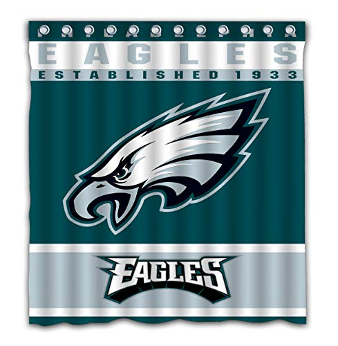 Potteroy Philadelphia Eagles Team Design Shower Curtain Waterproof Polyester Fabric 66x72 Inches