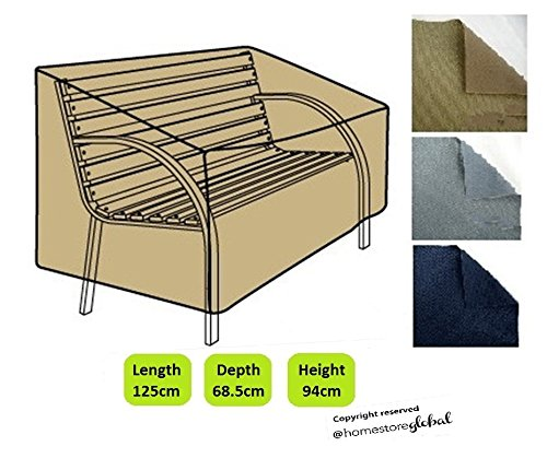 HomeStore Global Bench Cover in Brown - Thick & Durable high-quality 600D Polyester Canvas with double stitched seams for extra strength, All-weather resistant and anti-humidity - Size approx : (L) 125 x (D) 68.5 x (H) 63.5/94cm OF00028