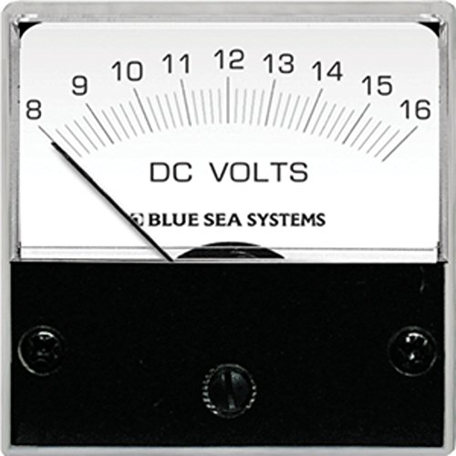 Blue Sea 8028 DC Analog Micro Voltmeter - 2 Face, 8-16 Volts DC - 1 Year Direct Manufacturer Warranty (Analog Micro Voltmeter)