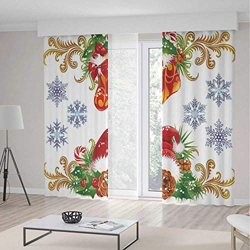 (ALUONI Blackout Curtains,Christmas Decorations,Living Room Bedroom Décor,Classic Decorative Design with Stocking and Santa Hat Mistletoe Snowflakes2 Panel Set,103W X 83L Inches)