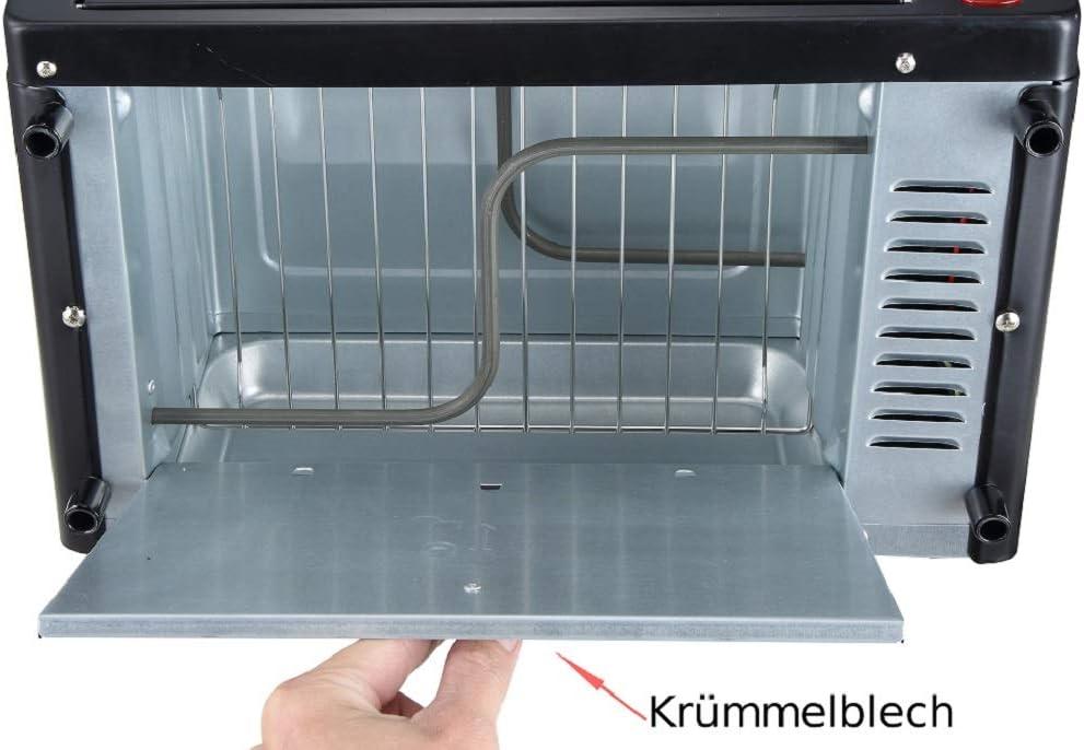 Minihorno de 1000 W, 10 litros, incluye Bandeja de horno y parrilla, Horno para pizza, 90° – 230 °C, Temporizador de 60 min, bandeja para migas plegable, horno pequeño: Amazon.es: Grandes electrodomésticos