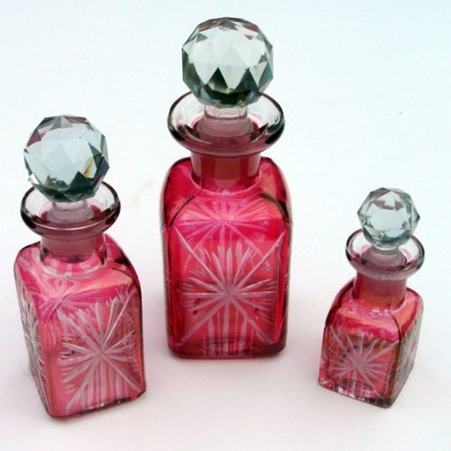 Clear Pink Vintage Reproduction Cut Glass Perfume Bottles
