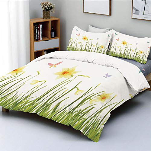 Duplex Print Duvet Cover Set Twin Size,Daffodil Field with Butterflies in Meadow Grass Springtime Park Easter IllustrationDecorative 3 Piece Bedding Set with 2 Pillow Sham,Yellow Green,Best Gift For K