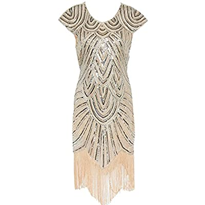 Litluxe Art Deco Great Gatsby Inspired Beaded Sequined Embellished Fringed 1920s Flapper Dress