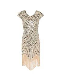 Aami Vintage Great Gatsby Inspired Tassel Beaded 1920s Flapper Party Dress
