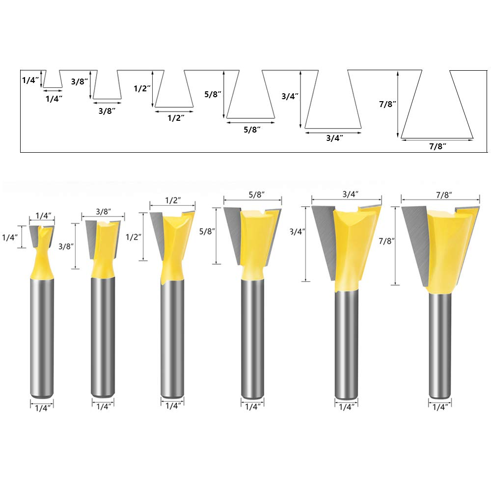Saipe 1//4 Shank Dovetail Router Bit Set of 6PCS for The Construction of Boxes Drawers Chests