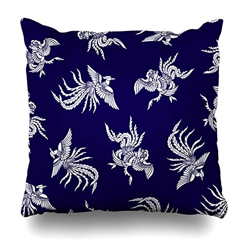 Ahawoso Throw Pillow Cover Graceful Fight Oriental Phoenix Pattern Bird Peacock Artistic Asia Classic Creature Design Feather Decorative Sofa Cushion Case 16