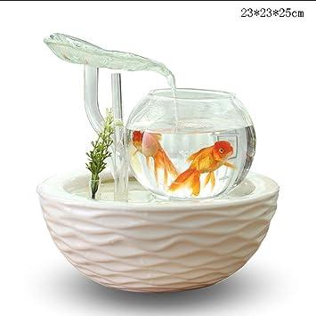Mai tank Waterfall Aquarium Fish Bowl Pequeño Tanque de Peces de Acuario de Curva (Color