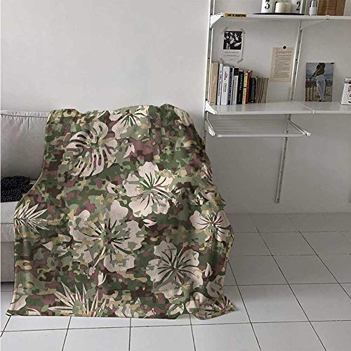 maisi Camo Custom Design Cozy Flannel Blanket Aloha Hawaiian Tropical Jungle Forest Hibiscus Flowers Leaves Nature Lightweight Blanket Extra Big 70x60 Inch Baby Pink Green Dark Brown