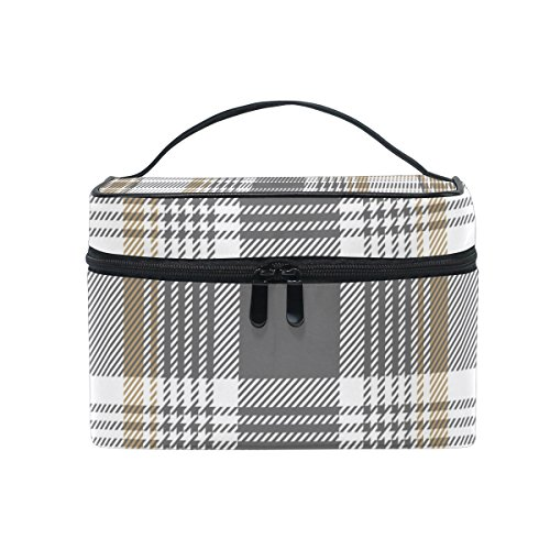 Cooper girl Gold Platinum Checkered Plaid Cosmetic Bag Travel Makeup Train Cases Storage Organizer