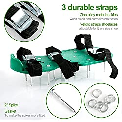 Lawn Aerator Shoes, Mospro Spikes Aerator Sandals Heavy Duty Spiked Shoes Each One With 3 Zinc Alloy Metal Buckles and 3 Straps for Aerating Your Lawn or Yard