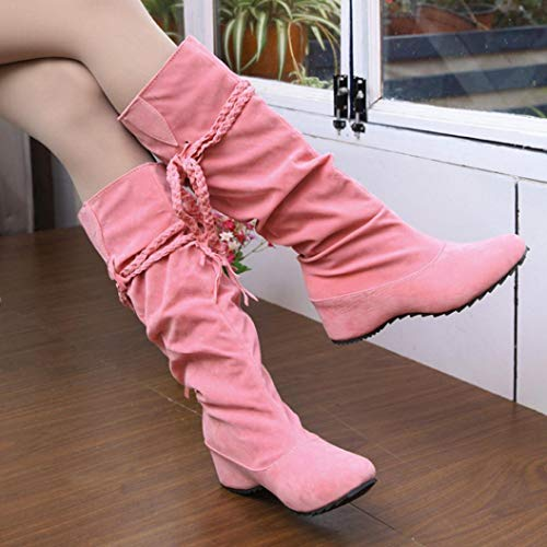Gyoume Keen-High Boots,Women Flats Wedge Bootie Shoes Platforms Tessals Boots Motorcycle Shoes
