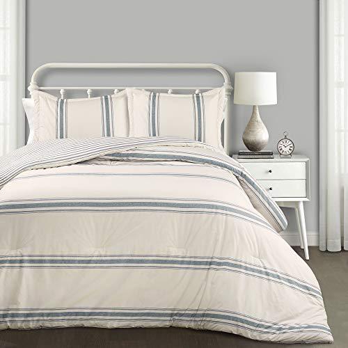 Lush Decor Comforter Farmhouse Stripe 3 Piece Reversible Bedding Set, King, Blue